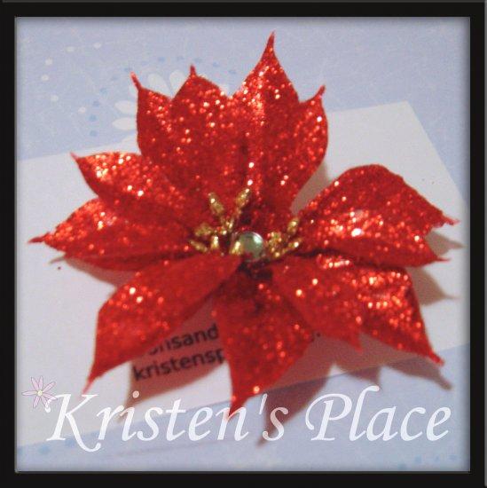 Christmas Flower Clip - Poinsettia Hair Clip
