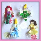 Mermaid, Blue Princess, Yellow Princess, and Fairy Hair Clip - Boutique Character Bow set of 4