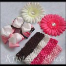 Boutique Flowers, Bows, and Headband Set - Pink, Brown, and White