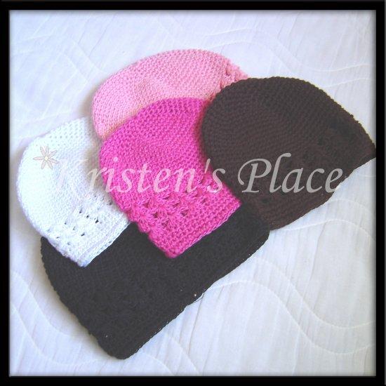 6 Crochet Beanie Hats - Kufi Cap - U Choose 6 - Infant Size - Wholesale Priced