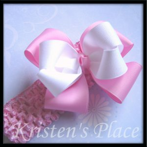 Large Double Stacked Boutique Bow - Pink and White - Plus FREE Headband - Bowband