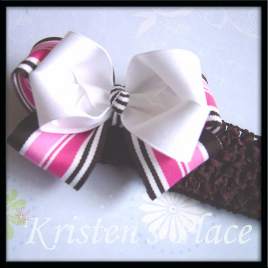 Large Double Stacked Boutique Bow - Pink, Brown, and White - Plus FREE Headband - Bowband