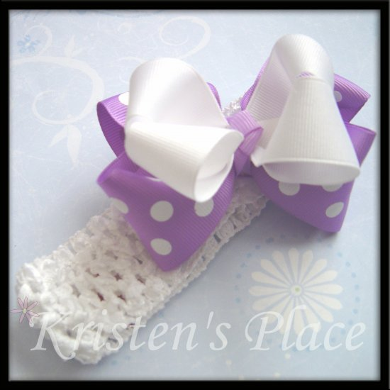 Large Double Stacked Boutique Bow - Purple and White - Plus FREE Headband - Bowband