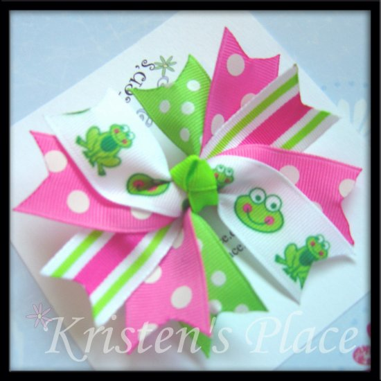 Boutique Spiky Bow - Frog Bows - Pink, Whte, and Green - Spike Bow