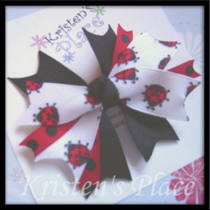 Boutique Spiky Bow - Ladybug Bows - Red, White, and Black Bow