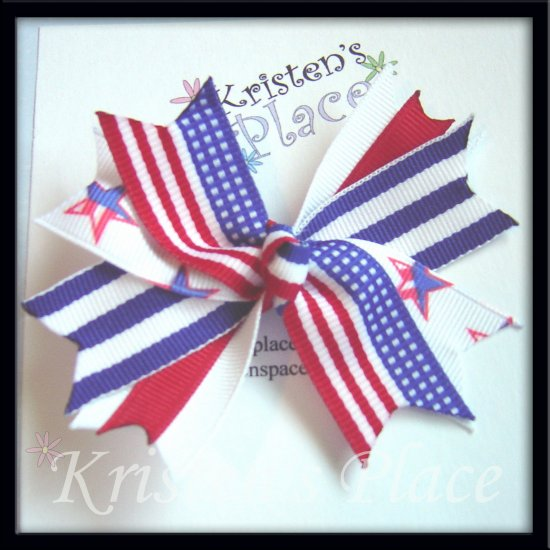 Boutique Spiky Bow - 4th of July - Patriotic Spike Bow