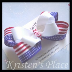4th of July - Patriotic Bow - Medium Double Stacked Boutique Bow - Red, White, and Blue