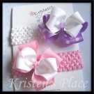 Boutique Headband Bow Set - 2 Lg Double Bows - 2 Crochet Headbands - Pink, Purple, White