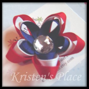 4th of July - Boutique Star Flower Hair Bow - Patriotic Ribbon Flower- 3 Layer Stacked Flower Bow