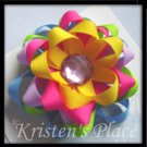 5 Layer Ribbon Flower - Bright Summer Colors - Flower Hair Clip