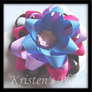 4 Layer Ribbon Flower - Boutique Flower Hair Bow - Brown, Pink, Purple, Blue