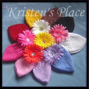 9 Crochet Hats & 9 Daisy Flower Clips - Wholesale Price