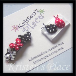 Ladybugs and Butterflies - Hair Bows - Baby Snap Clip Set