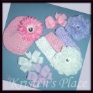 Boutique Flower, Bow, and Headband Set - Classic Girly Set - Pink, Purple, and White