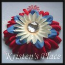 SUMMER SALE - Jeweled Daisy Hair Clip - 4th of July - Red, White, and Blue