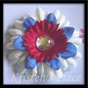 SUMMER SALE - Jeweled Daisy Hair Clip - 4th of July - Red, White, and Blue - Style 2