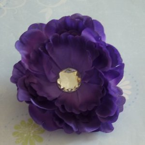 Flower Hair Clip - Peony - Purple