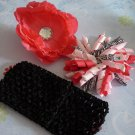 Pink and Black Peony and Korker Hair Bow Set