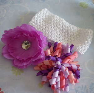 Hair Bow Set - Pink, Purple, and White