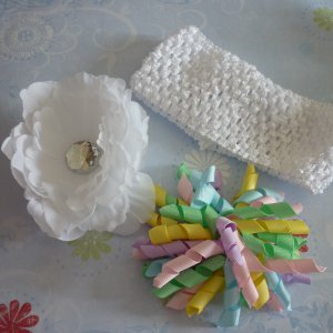 Hair Bow Set - White Peony and Pastel Korker