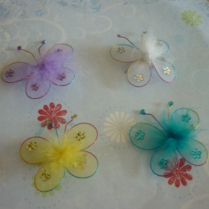 Set of 4 Butterfly Hair Clips - Purple, White, Yellow, Blue