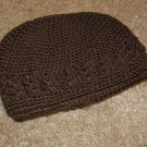 Brown Crochet Beanie Cap--Small