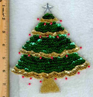 SEQUIN CHRISTMAS TREE SEW ON 7 INCHES
