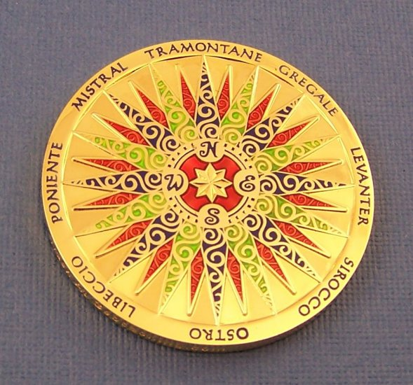 2009 Compass Rose Geocoin Polished Gold
