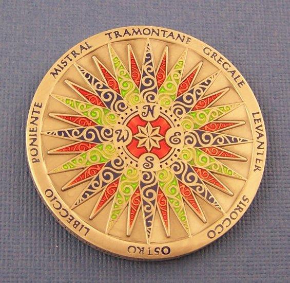 2009 Compass Rose Geocoin Antique Silver