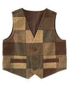 NWT GYMBOREE HOLIDAY PICTURES Brown Patch Vest 2T 3T 3