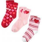 GYMBOREE FULL OF HEART 3 PAIRS GIRL SOCKS 3 4 Shoe 9 10