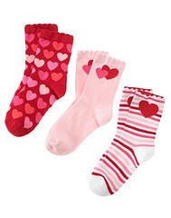 GYMBOREE FULL OF HEART 3 PAIRS GIRL SOCKS 3 4 Shoe 9 10
