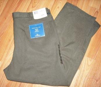 DOCKERS Mens 40x30 Flat Front Brown Twill Pants $52 NWT