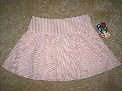 "NEW ROXY SANDRA Skirt Pink White Seersucker Sz 5  31"""