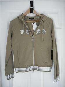 $140 NWT BCBG Zip Hoodie Jacket Olive SILVER Large NEW