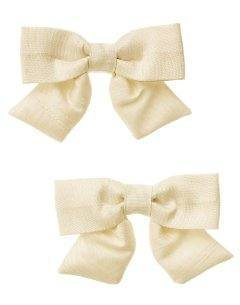 GYMBOREE PETITE MADEMOISELLE IVORY BOW HAIR 2 BARRETTES