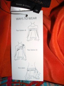 BCBG NWT SILK Skirt Top ** 3 in 1 Must SEE Flame Medium