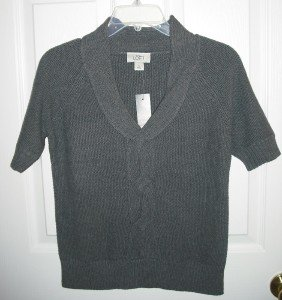 ANN TAYLOR LOFT Cable Detail V-Neck Sweater $49 Small