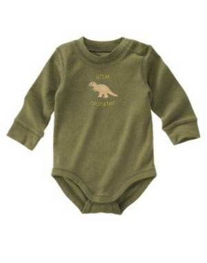 NWT GYMBOREE LITTLE DINO BABY Monster Olive Shirt 0 3