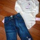 GYMBOREE ARGYLE ANIMALS GIRAFFE Outfit Jean Shirt 12 18