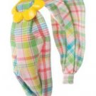 NWT GYMBOREE  HAPPY RAINBOW FLOWER PLAID HEADBAND 3 4 5