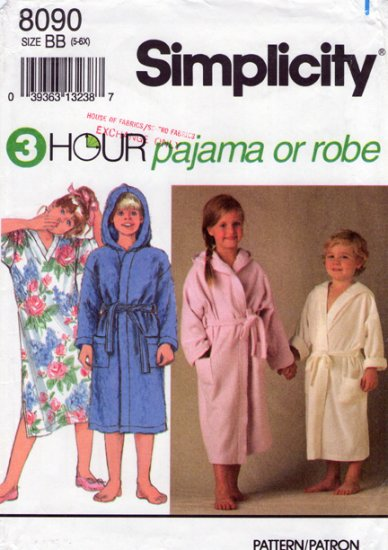Simplicity 8090 Child's Pajamas, Nightshirt & Robe Uncut