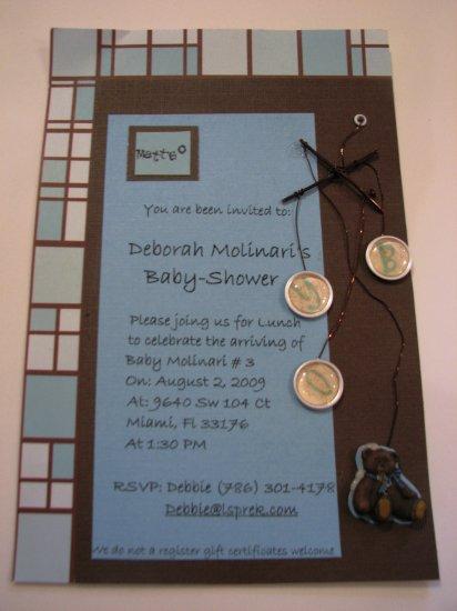 Scrapbook style handmade baby shower boy card