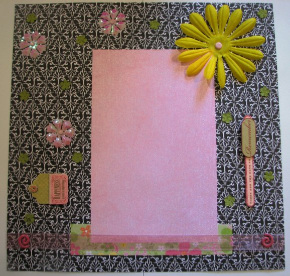 Pre-made scrapbook page 12 x 12 girl, flower