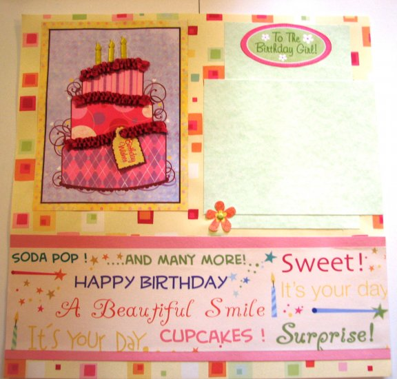 Pre-made scrapbook page 12x12 birthday girl