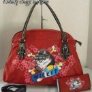 Ed Hardy Inspired Tattoo Print Jewel Accent Hobo Bag