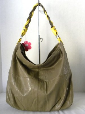 Taupe/Yellow TWINE STRAP Hobo Slouchy Shoulder Handbag