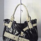 Black SNAKESKIN / PYTHON EMBOSSED Belted Tote Hobo Shoulder Bag