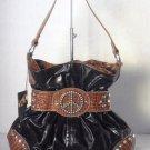 Black/Brown Croc Gathered Belt PEACE Studs Shoulder Bag