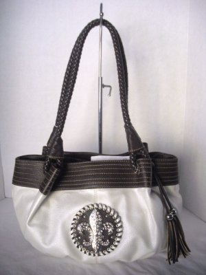 Cream/Expresson Fleur de Lis Satchel Woven Straps Hobo Tote Shoulder HandBag Purse